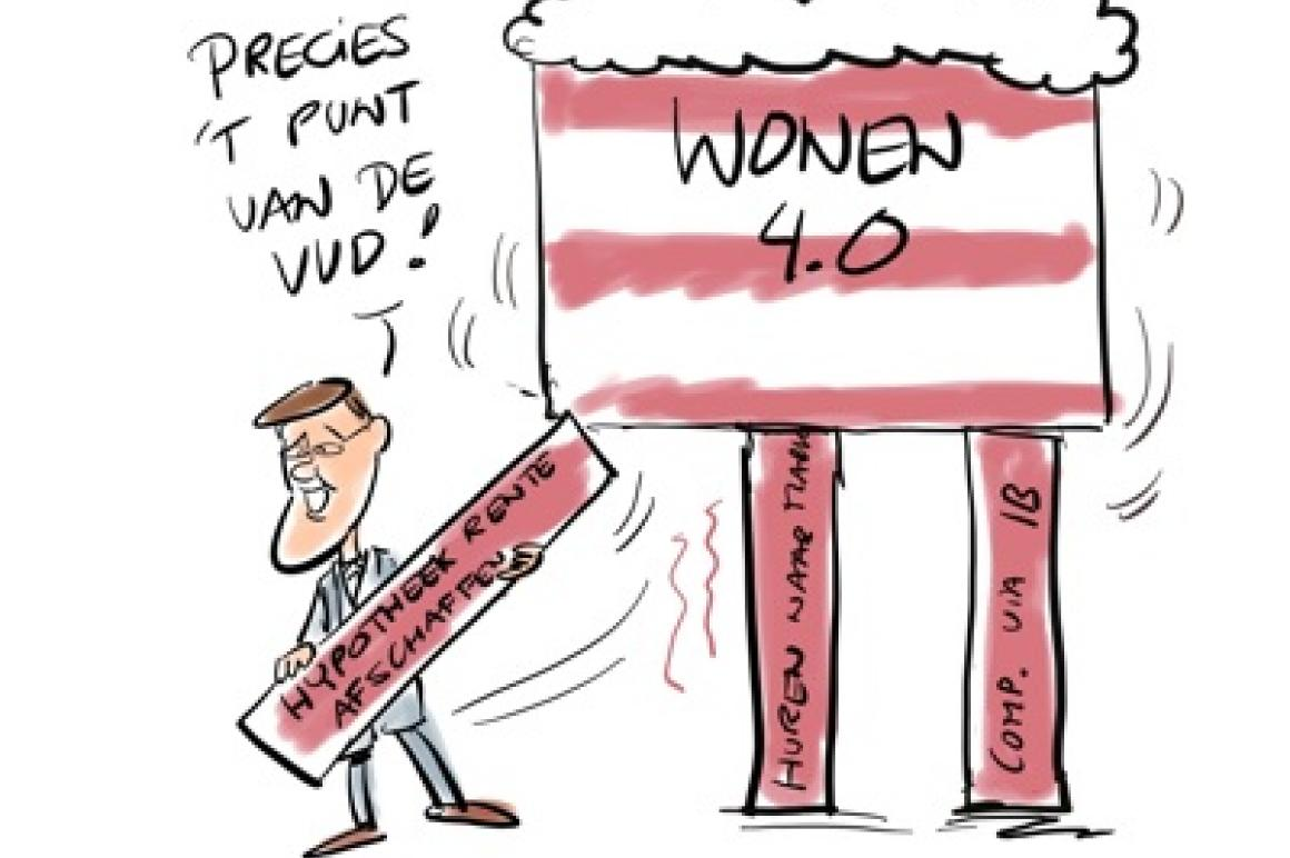 Cartoon over Wonen 4.0 van John Körver