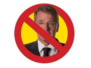 Minister Donner afgebeeld in stopbord, beeldmerk van de actie Huurders Bedonnerd van de Huurdersvereniging Amsterdam