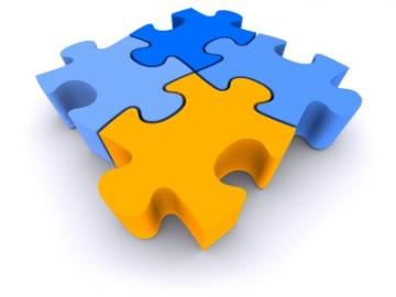Vier in elkaar geschoven puzzelstukjes