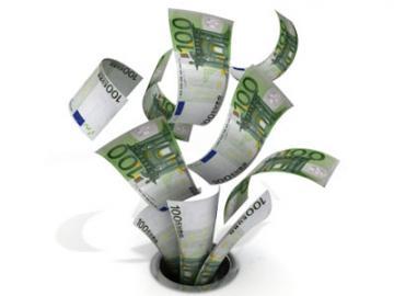 Eurobiljetten verdwijnen door het afvoerputje