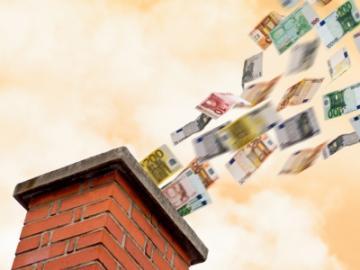 Wegvliegende eurobiljetten