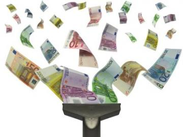 Stofzuiger blaast eurobiljetten uit