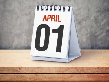 Bureaukalender met datum 1 april