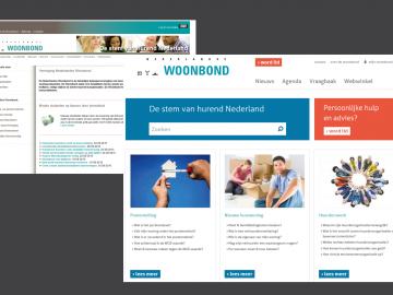 De oude en vernieuwde website van de Woonbond