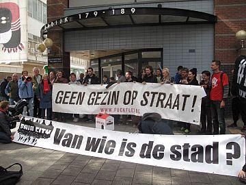 Actie op 12 september 2017 tegen huisuitzetting van een jong gezin door De Key