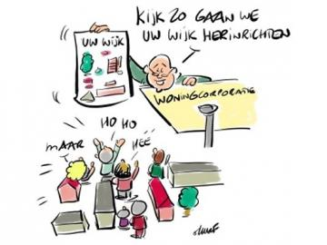 Cartoon over herinrichting wijk